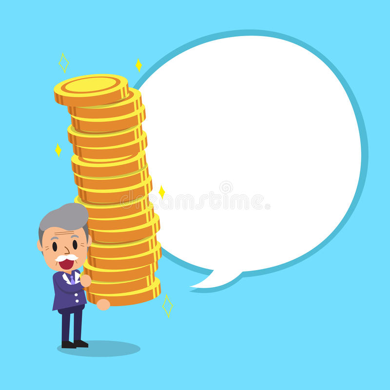 Senior businessman carrying big money stack with white speech bubble vector illustration