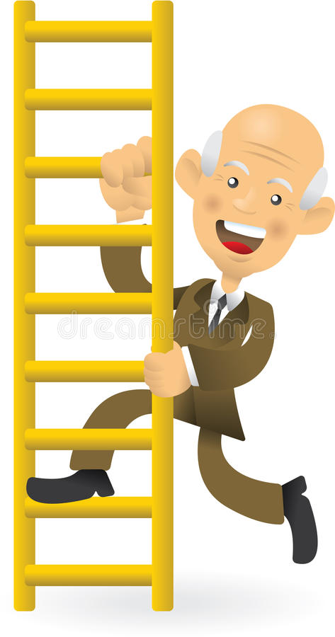 Senior Businessman Climbing The Corporate Ladder royalty free illustration