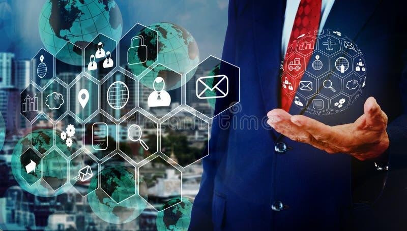 Senior businessman handel programing control on hand, Mobile technology concept stock image