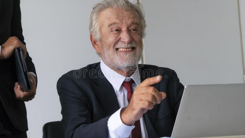 The Senior businessman happy about his great business deal. royalty free stock photo