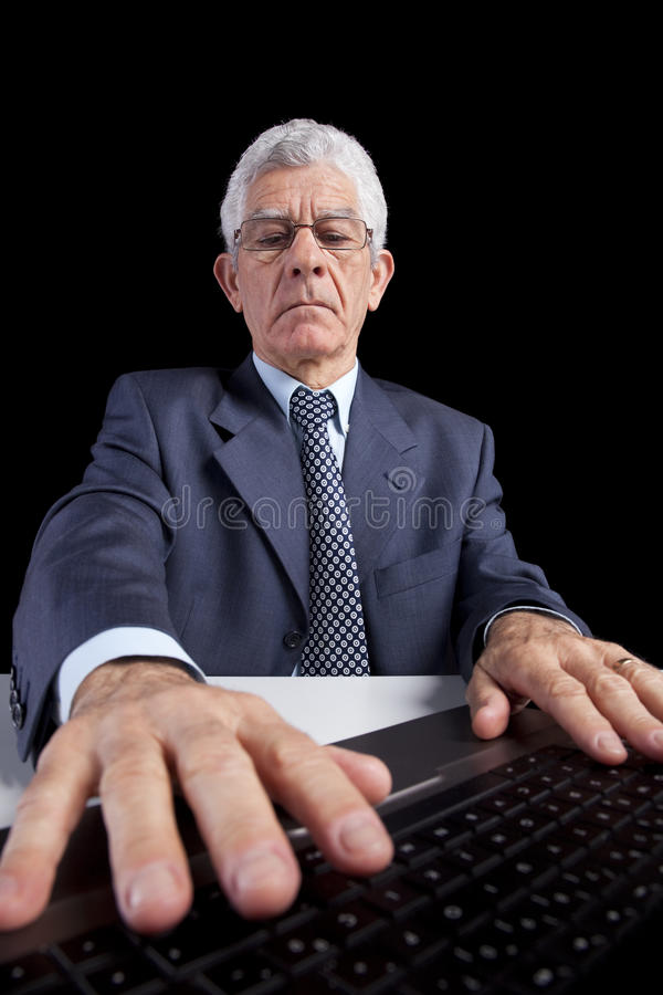 Download Senior Businessman At The Office Stock Image - Image of laptop, adult: 19104855
