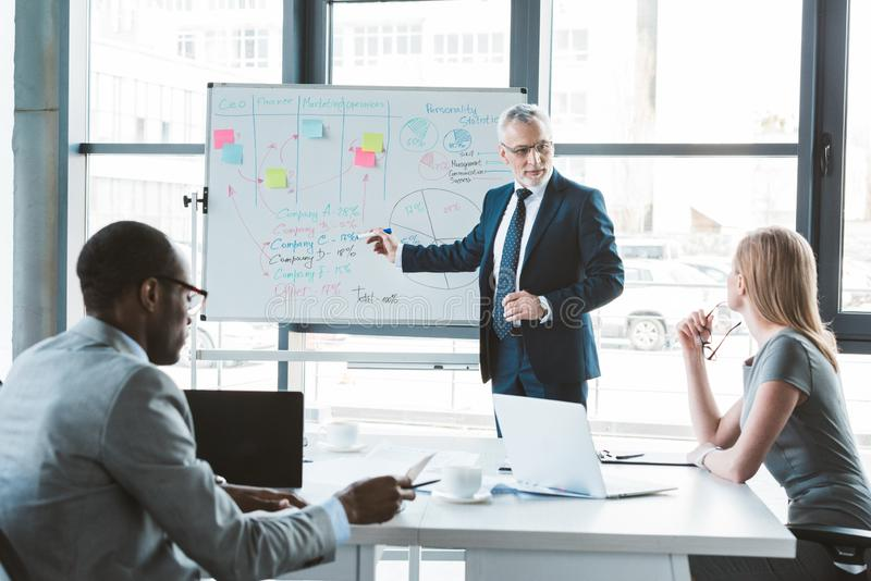 Senior businessman pointing at whiteboard with graphs and charts while discussing business project. With colleagues royalty free stock photo