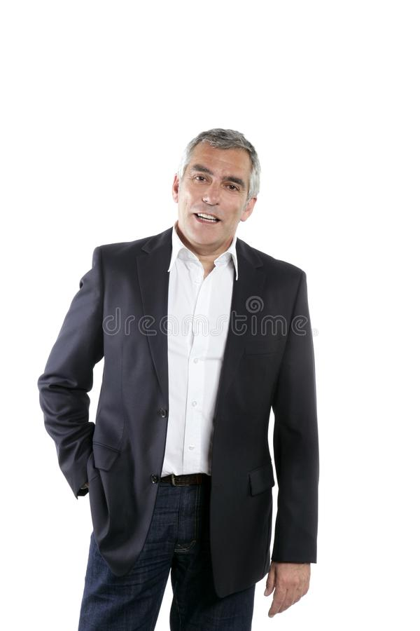 Senior businessman portrait black suit over white royalty free stock image