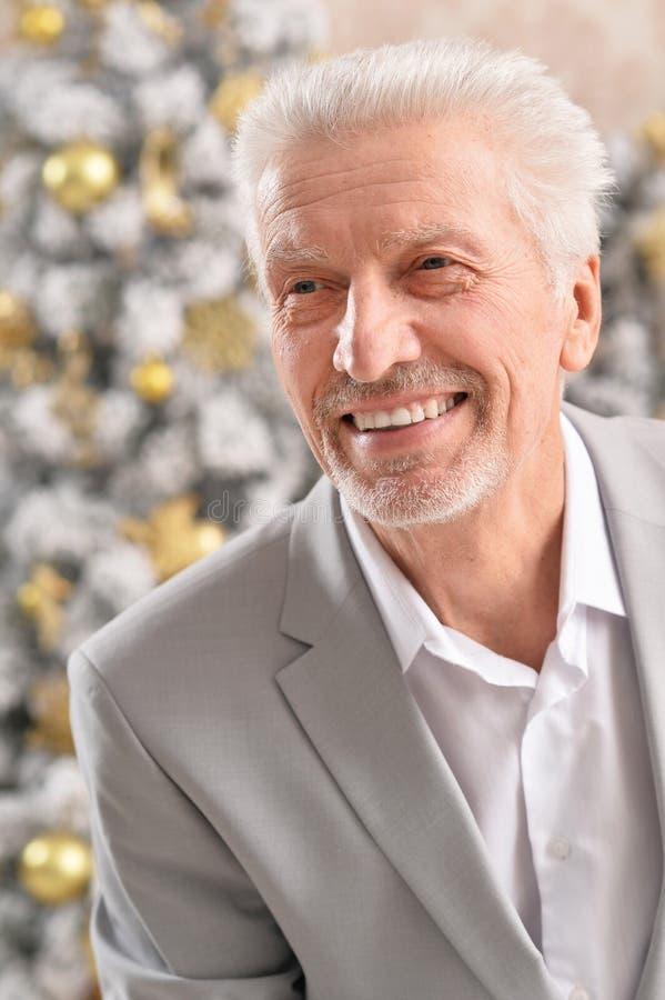 Senior businessman posing on blurred Christmas tree background stock image