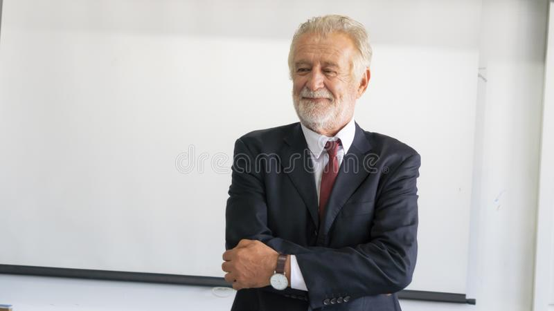 The Senior businessman in smart suit feeling happy and success royalty free stock photos