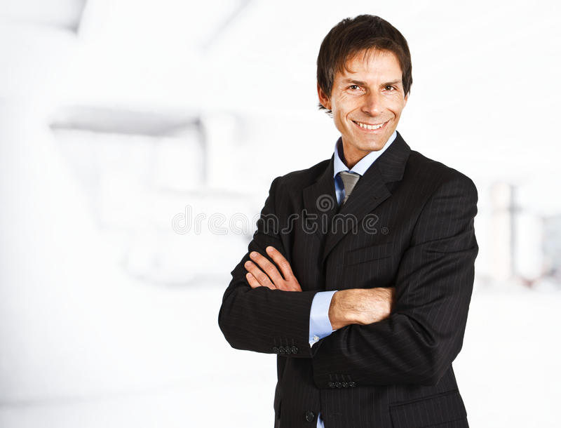 Senior businessman smiling stock image