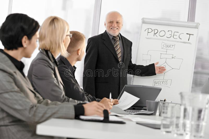 Senior businessman training colleagues stock photo