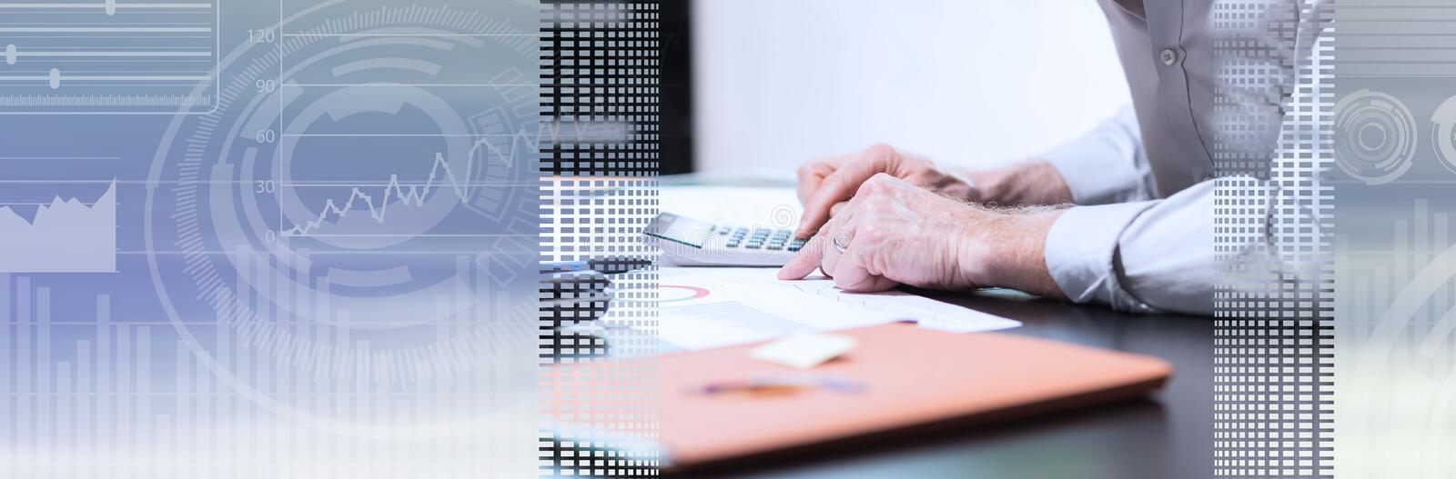 Senior businessman working on business report; panoramic banner stock images