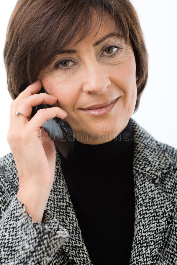 Download Senior Businesswoman Talking On Mobile Stock Photo - Image of listening, closeup: 8366904