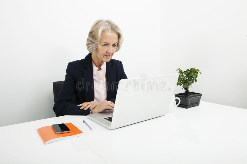 Download Senior Businesswoman Using Laptop At Desk In Office Stock Image - Image of front, 64: 35901933