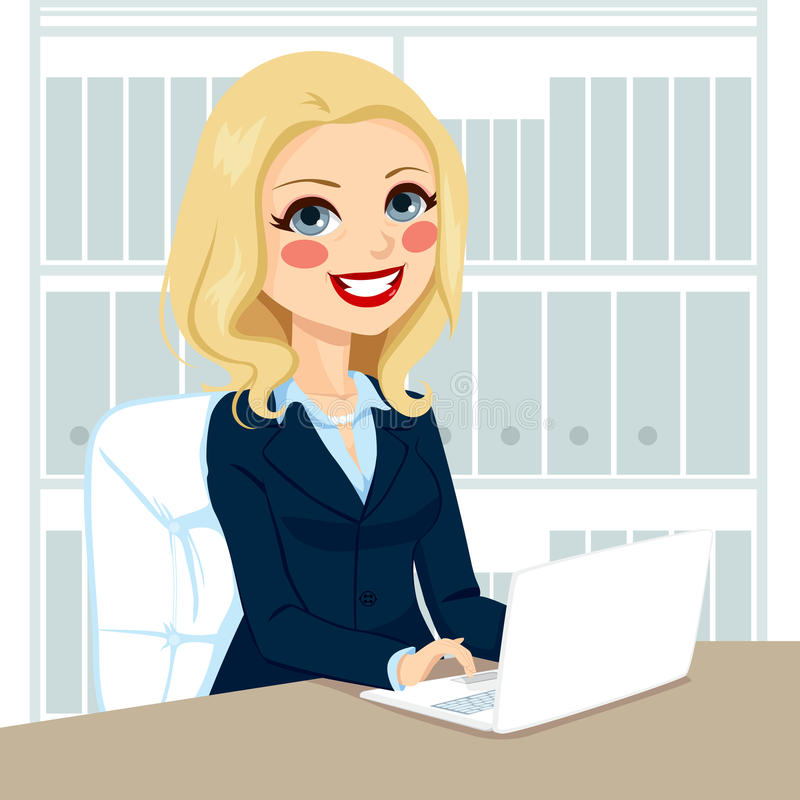 Senior Businesswoman Working With Laptop vector illustration