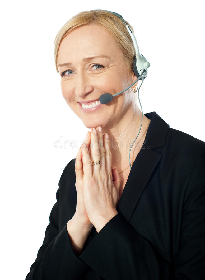 Senior Call Centre Representative In Action Royalty Free Stock Image
