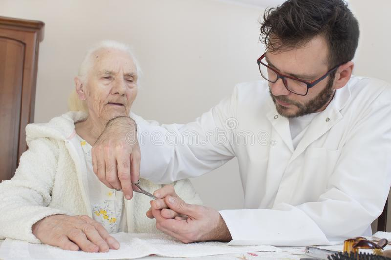 Senior care and nursing. Cosmetic treatment. Hygiene and care. stock images