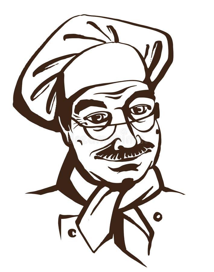 senior chef wearing hat and uniform hand drawing logo stock illustration image 53377499. Black Bedroom Furniture Sets. Home Design Ideas