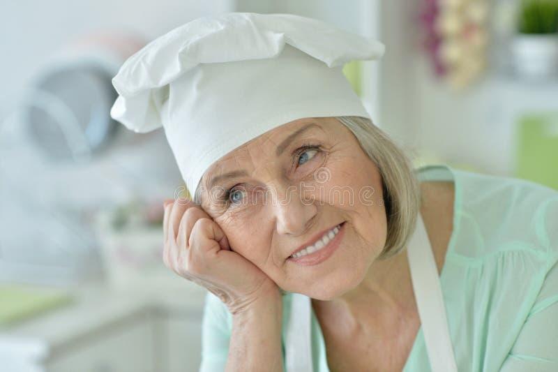 Senior chef woman stock photography