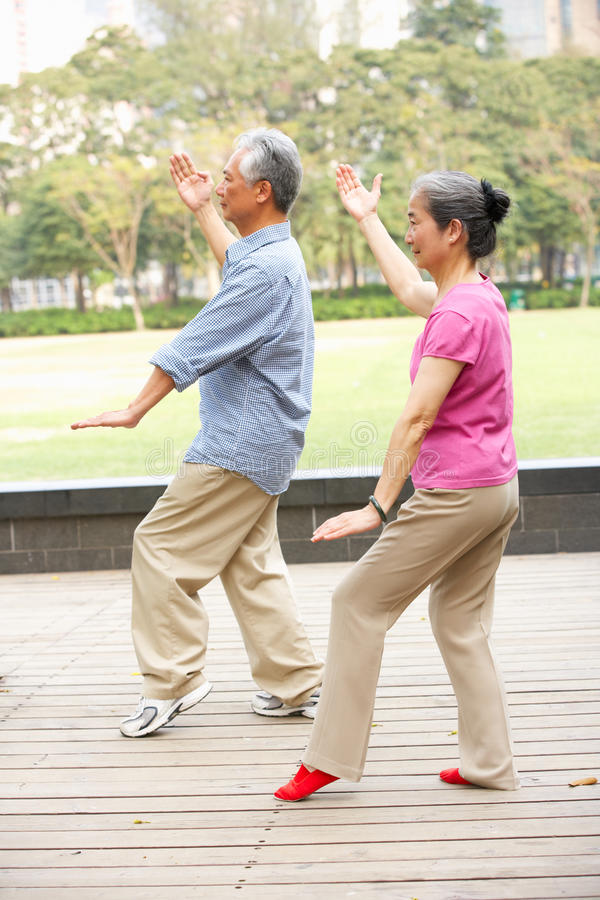 Free Senior Chinese Couple Doing Tai Chi In Park Stock Photography - 26097202