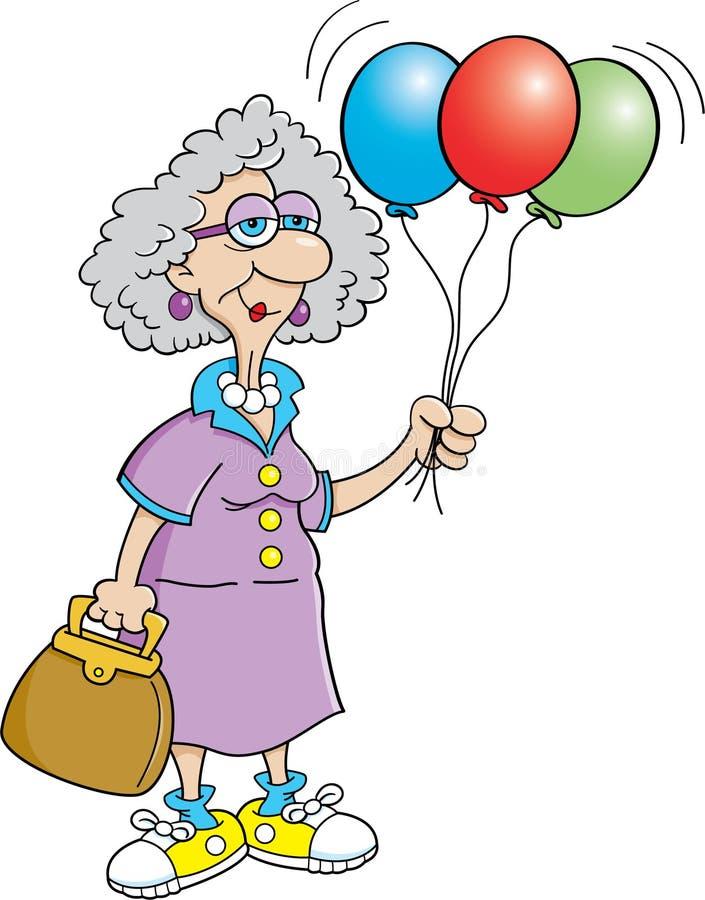 Senior citizen lady holding balloons. Cartoon illustration of a senior citizen holding balloons vector illustration