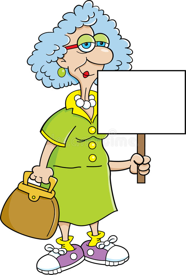 Senior citizen lady with a sign royalty free illustration