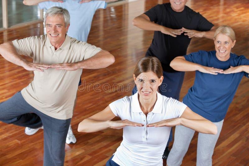 Senior citizens doing dance. Training in fitness center royalty free stock photos