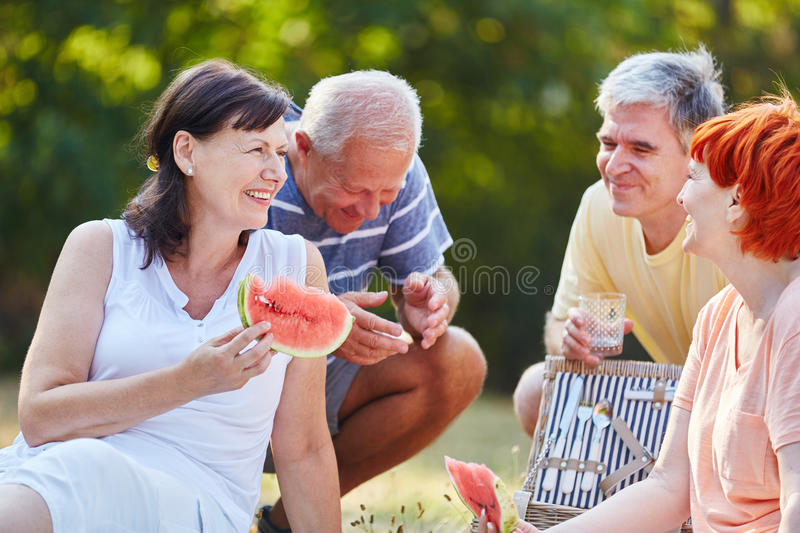 Senior citizens making a picnic. In the park in summer eating fruit stock photography