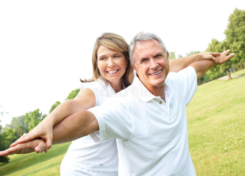 Senior couple. Happy elderly senior couple in park