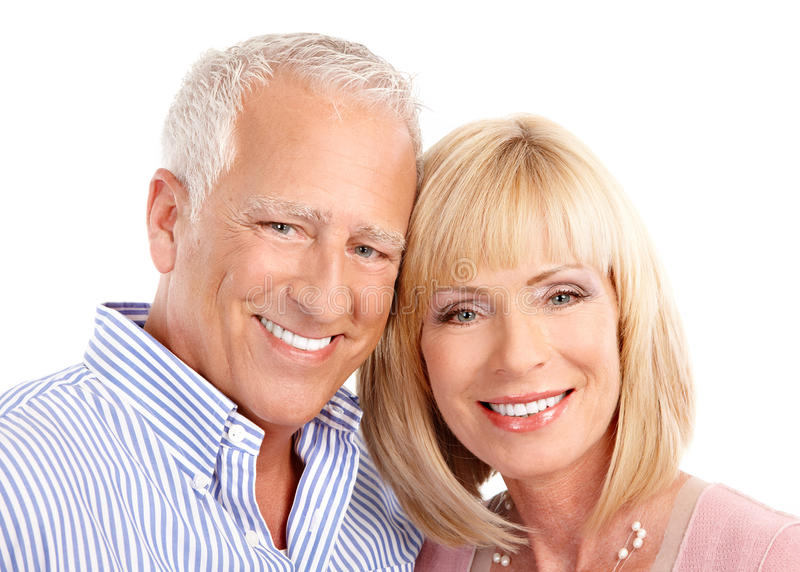 Senior couple. In love. Isolated over white background stock photography