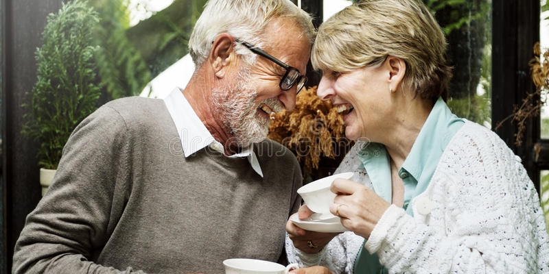Senior Couple Afternoon Tean Drinking Relax Concept stock photography