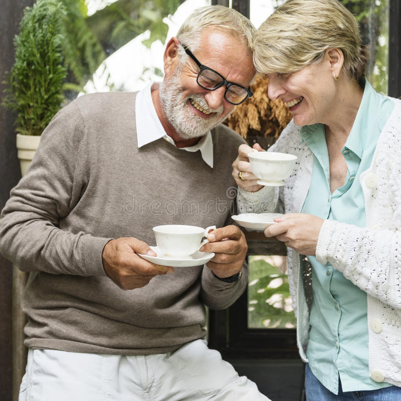Senior Couple Afternoon Tean Drinking Relax Concept royalty free stock image