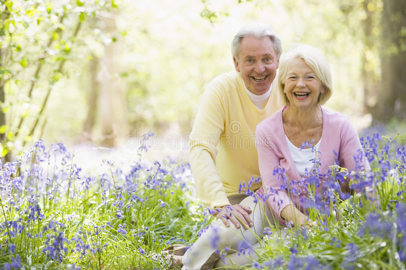 Senior couple in bluebell woods royalty free stock photos