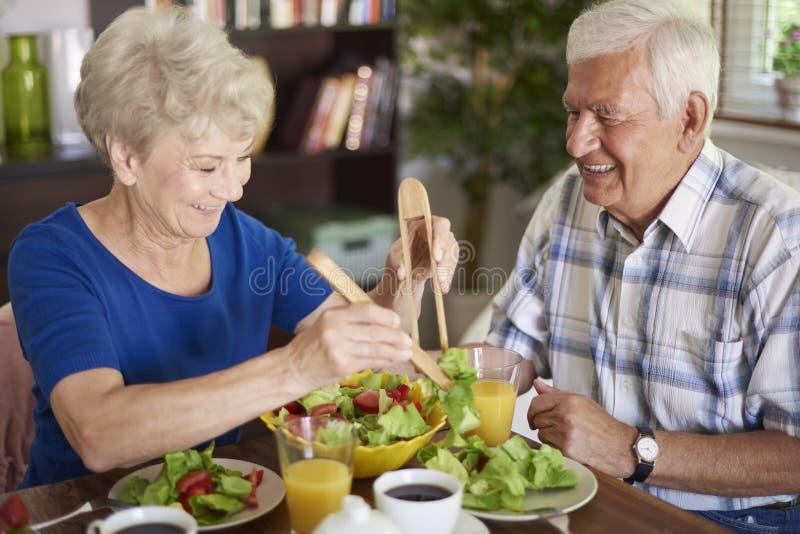 Senior couple during breakfast royalty free stock image