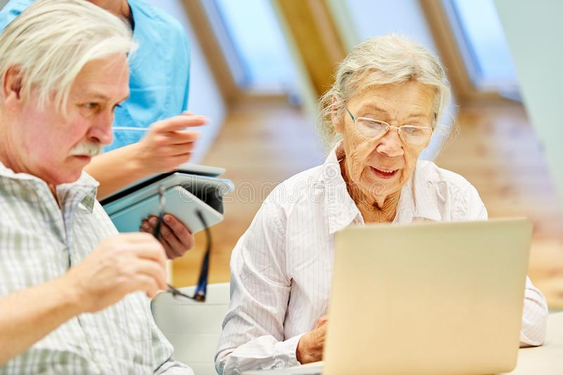 Senior couple in computer class learn together royalty free stock images