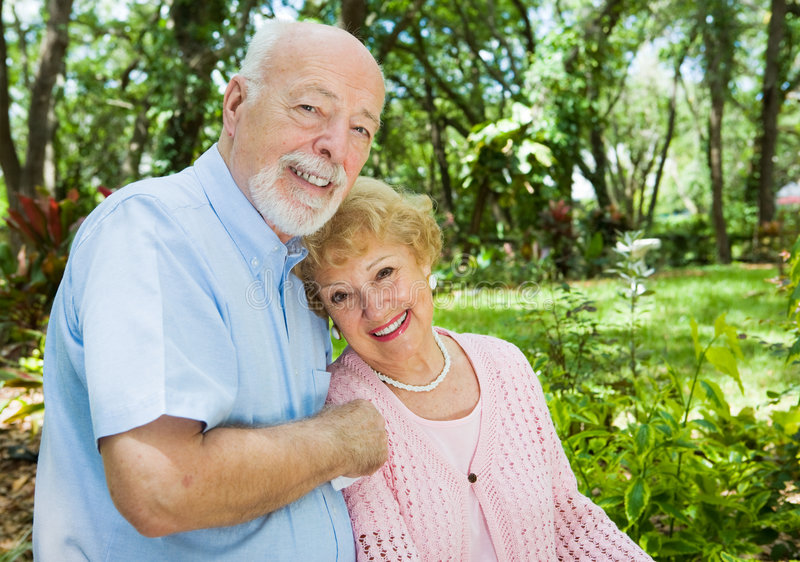 Senior Couple with Copyspace stock photography