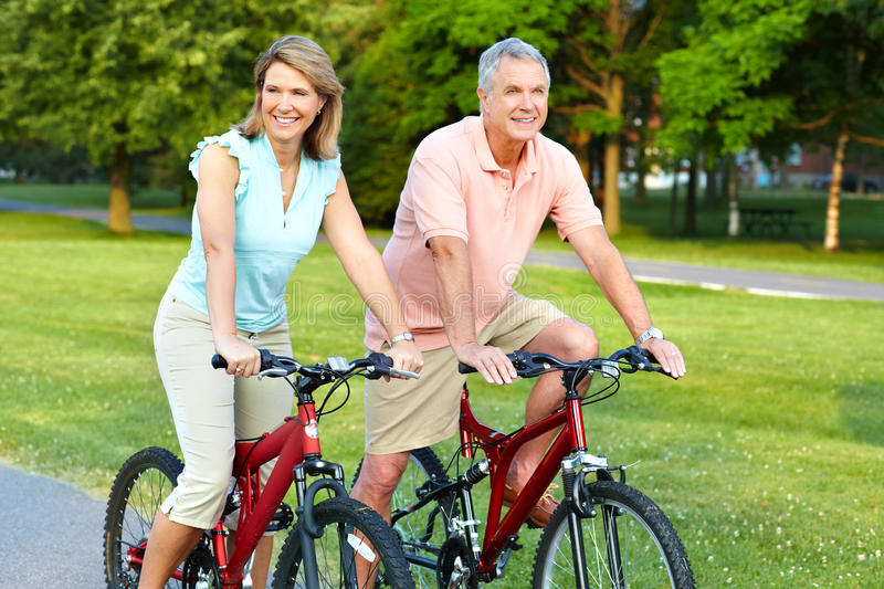 Download Senior couple cycling stock image. Image of male, family - 15883005