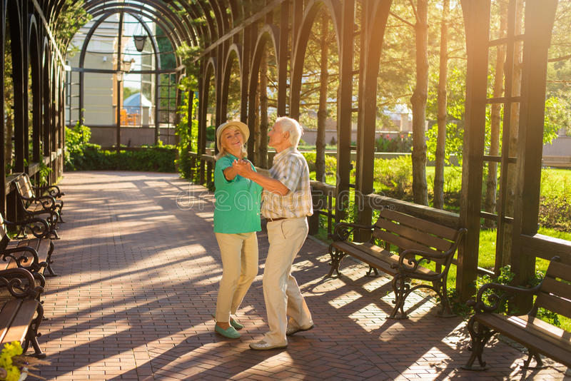 Senior couple is dancing. royalty free stock image