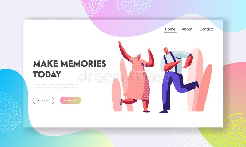 Senior Couple Dancing Sparetime. Elderly People Active Lifestyle, Old Man and Woman Spend Time Dance Together, Extreme. Leisure. Website Landing Page, Web Page royalty free illustration