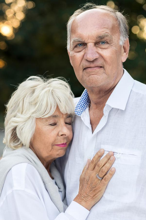 Senior couple deeply in love royalty free stock photos