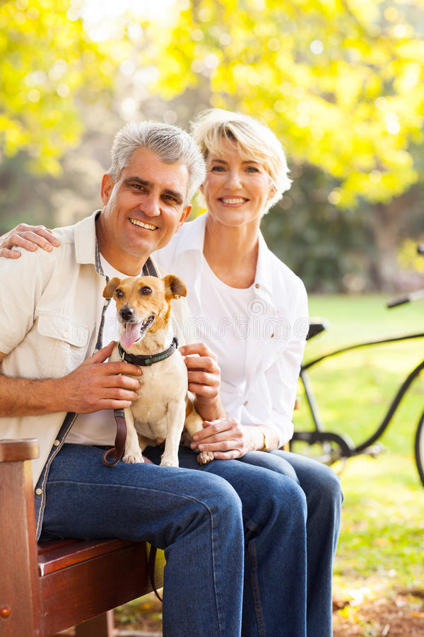 Download Senior couple dog stock image. Image of cheerful, bench - 32912637