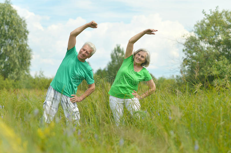 Senior couple doing exercises in the field. Beautiful happy senior couple doing exercises in the field stock image