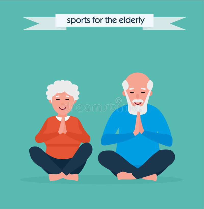 Senior couple is doing fitness training. Doing yoga together. Healthy lifestyle concept. Active sport concept. Cartoon vector illustration