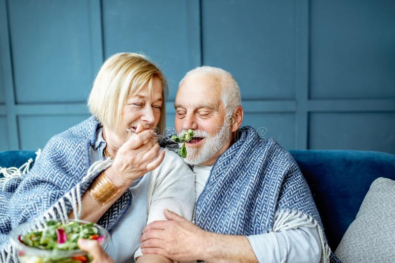 Senior couple eating healthy salad on the couch at home. Lovely senior couple eating healthy salad while sitting wrapped with plaid on the couch at home stock image