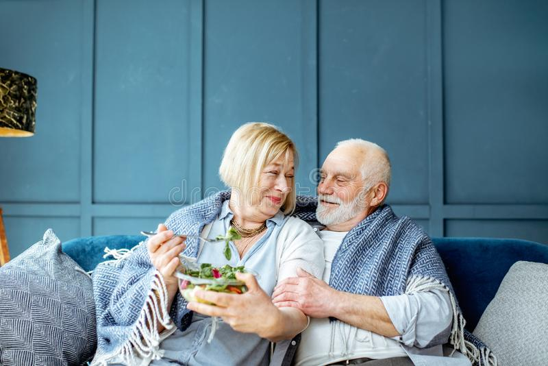 Senior couple eating healthy salad on the couch at home. Lovely senior couple eating healthy salad while sitting wrapped with plaid on the couch at home stock images