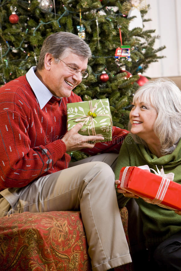 Download Senior Couple Exchanging Gifts By Christmas Tree Stock Photo - Image of room, exchange: 15150856