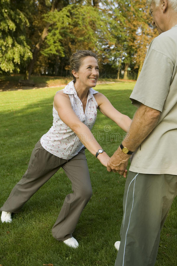 A senior couple exercising. royalty free stock images