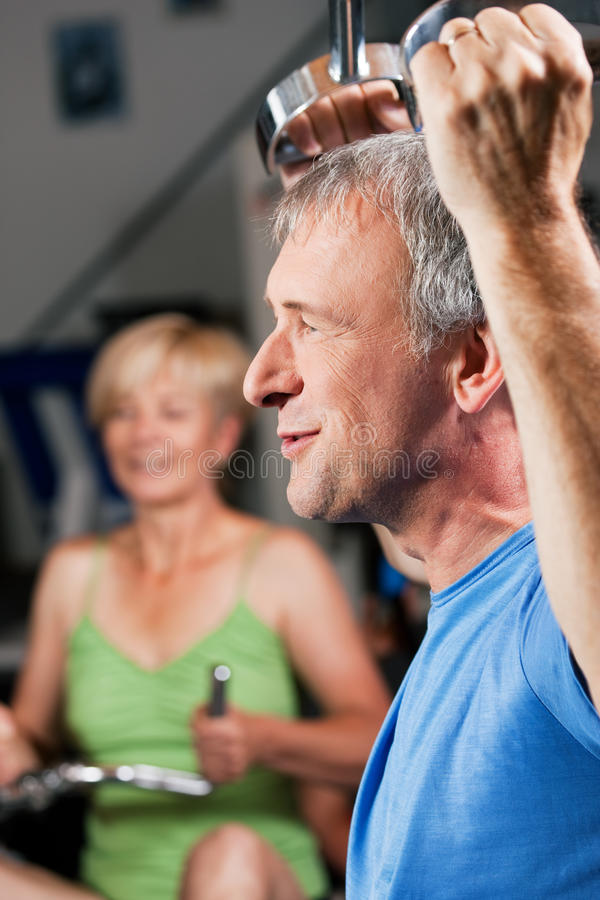 Download Senior Couple Exercising In Gym Stock Image - Image: 12738737