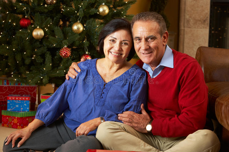 Senior Couple In Front Of Christmas Tree royalty free stock photo