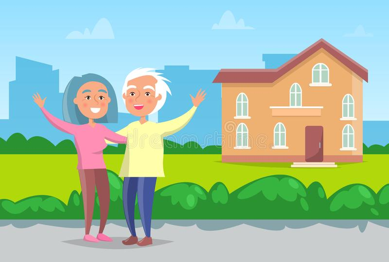 Senior Couple Standing in front of House Vector. Senior couple with grey hair standing in front of house. Cheerful aged people, grandmother and grandfather royalty free illustration