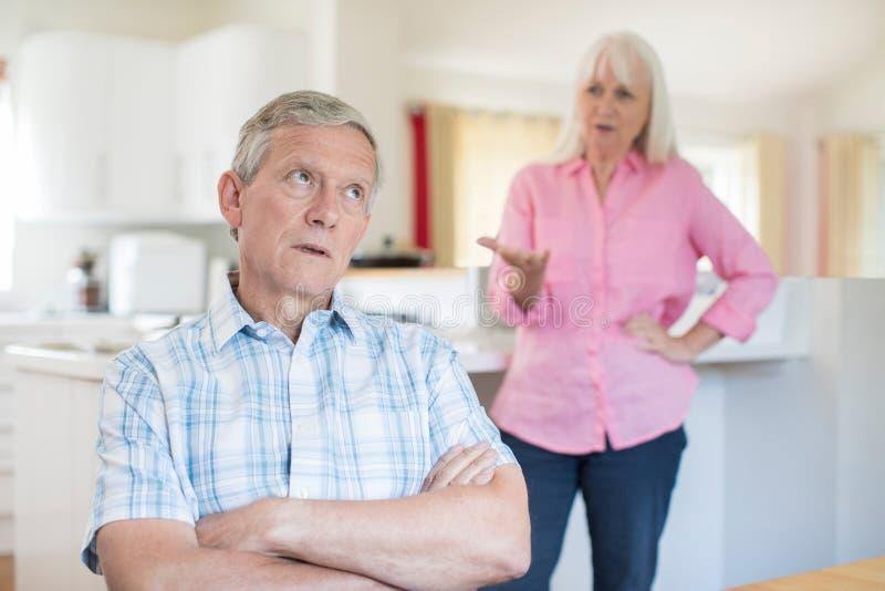 Senior Couple Having Argument At Home royalty free stock photos