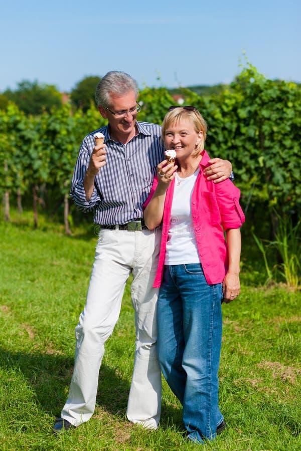 Senior Couple Having Walk With Ice Cream Stock Images