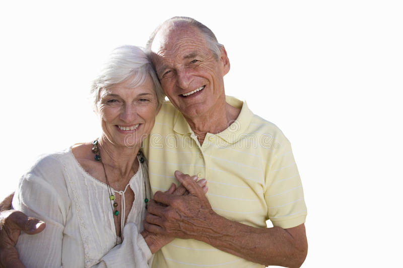 senior couple holding hands, portrait, cut out royalty free stock image