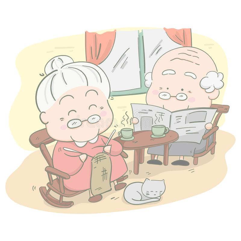 Senior couple at home. She is knitting crochet and he is reading a news. Vector illustration royalty free illustration